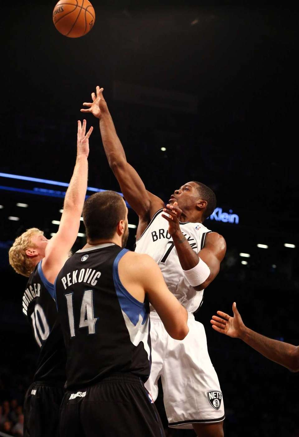 Joe Johnson of the Brooklyn Nets shoots over