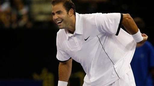 Pete Sampras reacts during a friendly exhibition against
