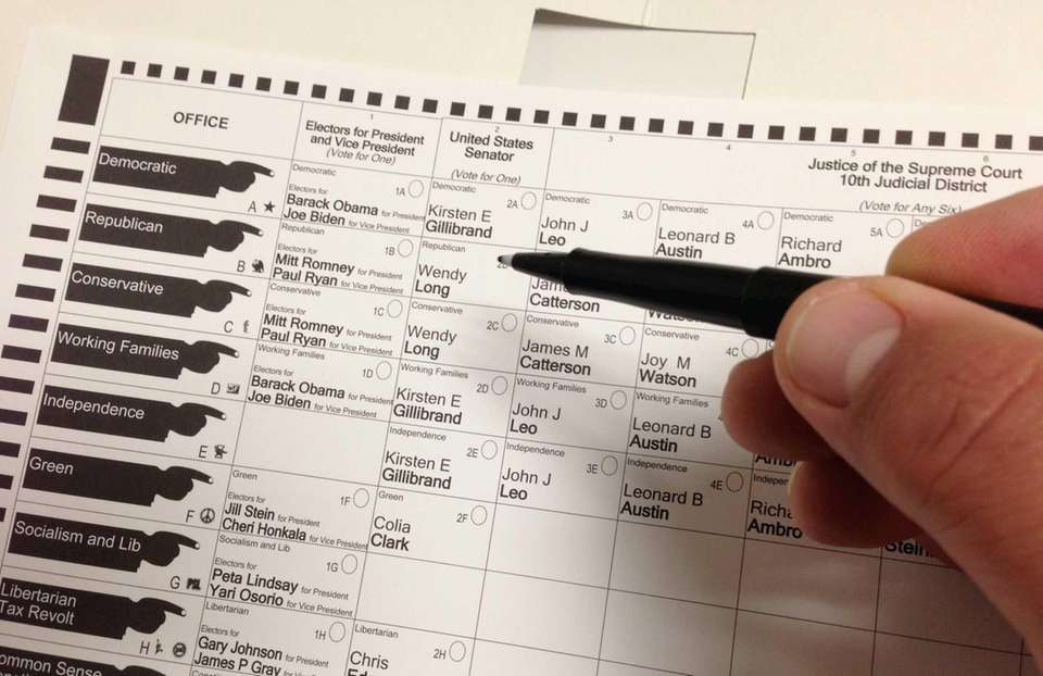 Ballot this morning in Suffolk County. (Nov. 6,