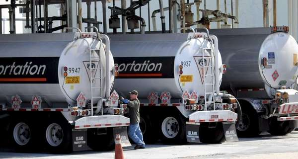 Gasoline tankers take on fuel at Northville Industries