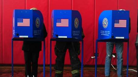 Long Beach residents cast their votes at the