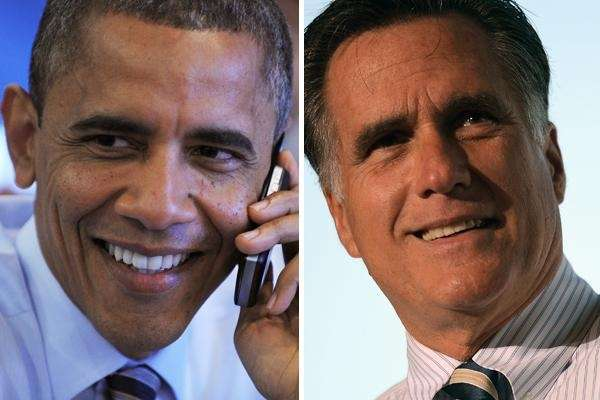 Presidential candidates Barack Obama and Mitt Romney.