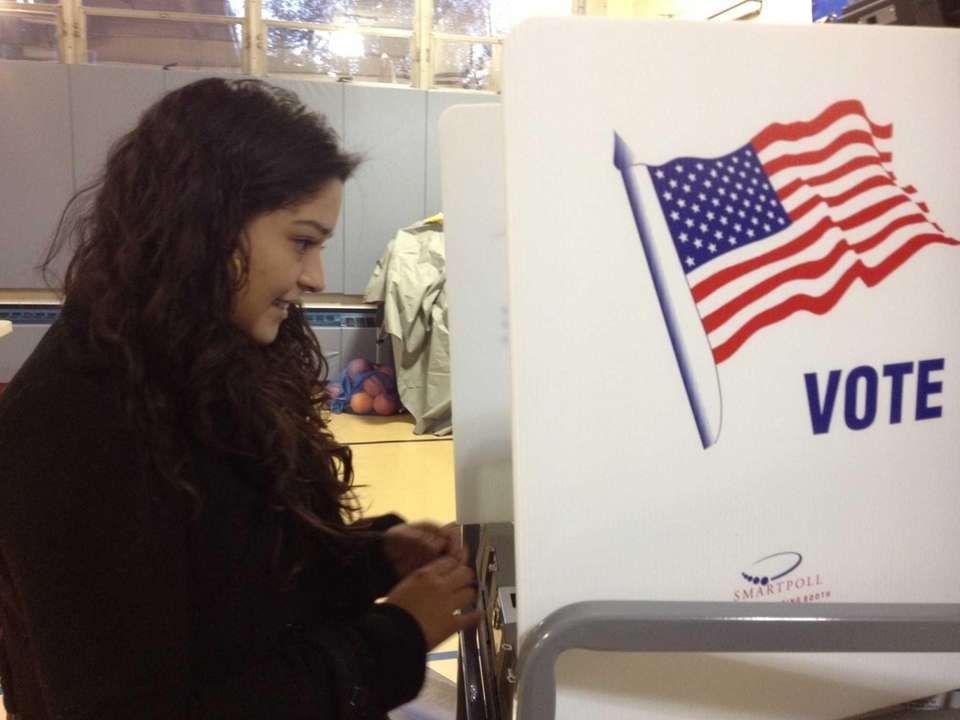 Melissa Salgado, 23, of West Nyack, votes at