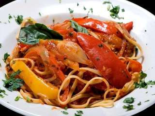 Spaghetti Calabrese, made with red, yellow and hot
