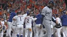 Yankees relief pitcher Aroldis Chapman leaves the field