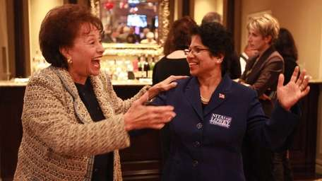 Congresswoman Nita Lowey laughs with supporters during the