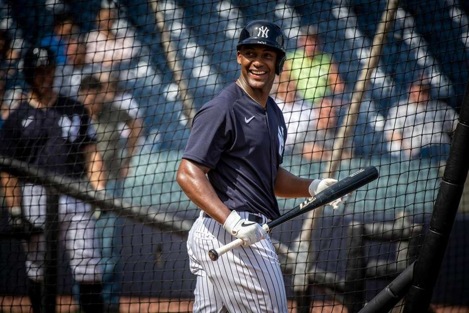 The Yankees' Miguel Andujar looks on during batting