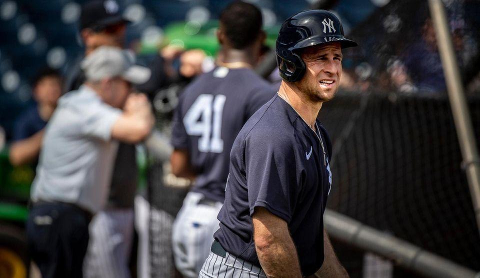 Yankees' Bret Gardner during batting practice spring training