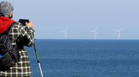 A visitor at Montauk Point on Monday takes