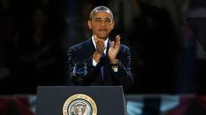 U.S. President Barack Obama walks out on stage