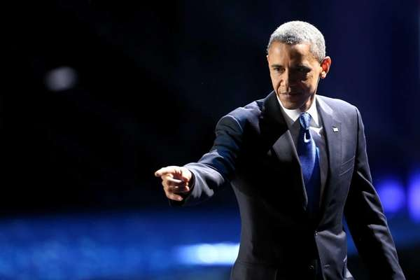 U.S. President Barack Obama waves to supporters after