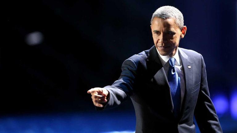 U.S. President Barack Obama waves to supporters after