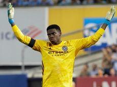 New York City FC goalkeeper Sean Johnson reacts