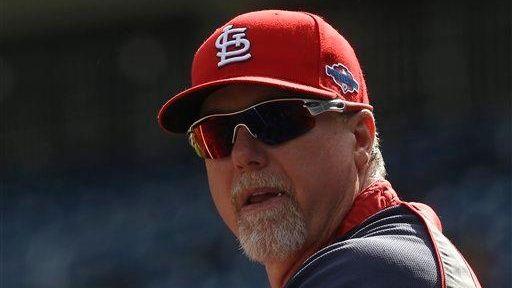 St. Louis Cardinals batting coach Mark McGwire looks