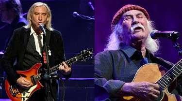 Rock Hall inductees Joe Walsh, left, and David