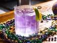 The Nola-Groni is a purple colored cocktail made