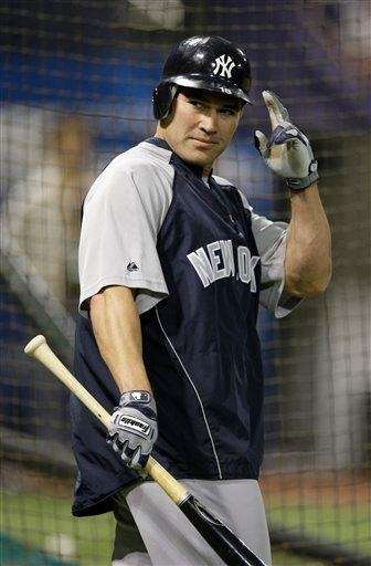 Johnny Damon is seen before Game 3 of