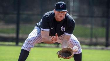 Yankees infielder DJ LeMahieu fields a ground ball