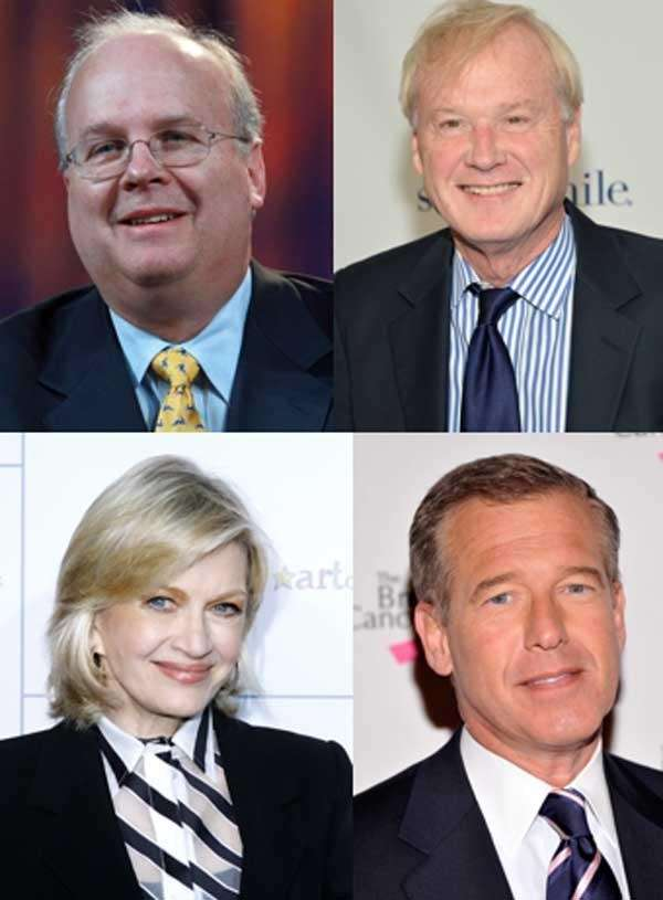 From left, clockwise: Karl Rove, Chris Matthews, Brian