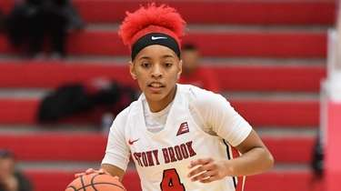 Stony Brook guard Anastasia Warren dribbles the ball