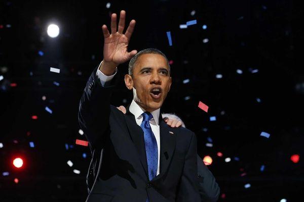 President Barack Obama delivers his victory speech after