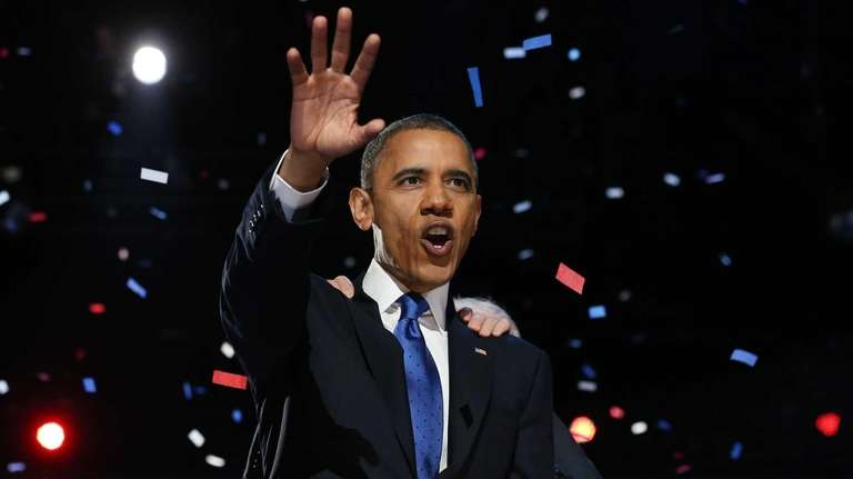 President Barack Obama delivers his victory speech after