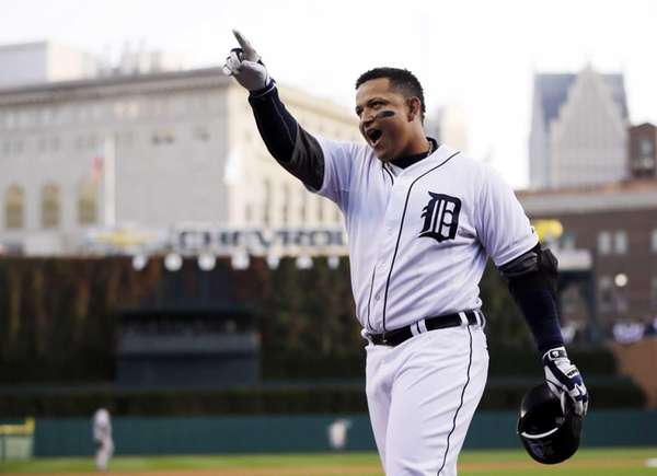 Detroit Tigers third baseman Miguel Cabrera celebrates after