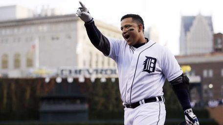 Detroit Tigers third baseman Miguel Cabrera celebrates after