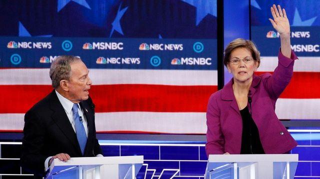 Michael Bloomberg and Elizabeth Warren at the Democratic