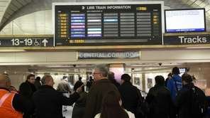 Long Island commuters waiting at Penn Station during