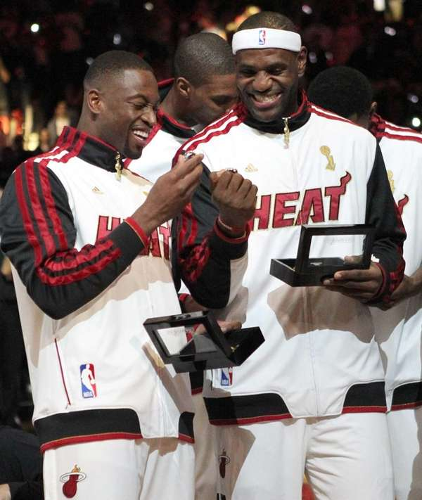 Miami Heat's Dwyane Wade, left, and LeBron James