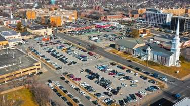 An aerial view of parking lots near Front