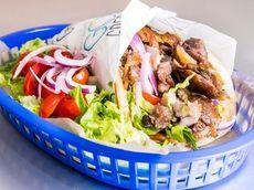 Pork Gyro Pita with lettuce, tomato and onion