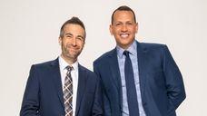 Portrait of Matt Vasgersian and Alex Rodriguez, announcers