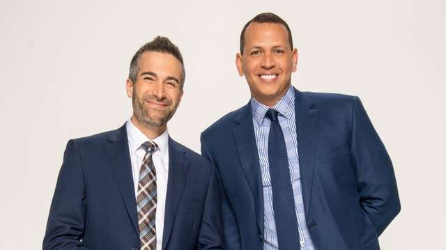 Portrait of Matt Vasgersian and Alex Rodriguez, announcers