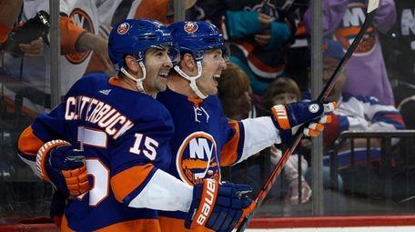 Casey Cizikas #53 of the Islanders celebrates his