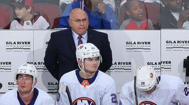 Head coach Barry Trotz of the Islanders watches
