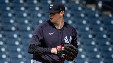 Yankees pitcher Jordan Montgomery throws live batting practice