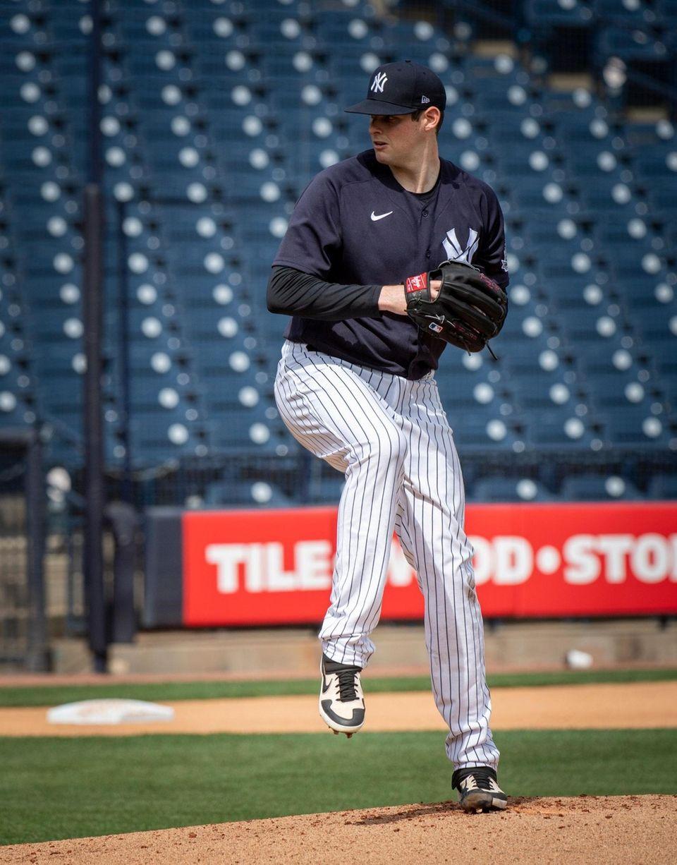 Yankees pitcher Jordan Montgomery throws live batting practice