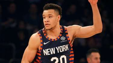 Kevin Knox II of the Knicks reacts after