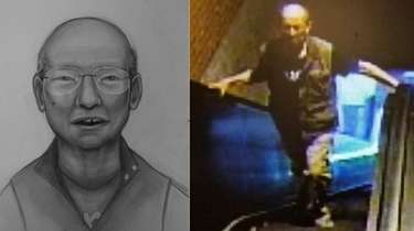 An artist's sketch and a surveillance image shows