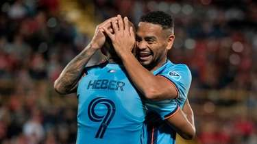 New York City FC's Heber celebrates with Alexander