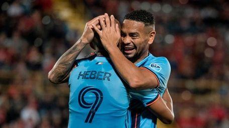 New York City FC's Heber celebrates with Alexander