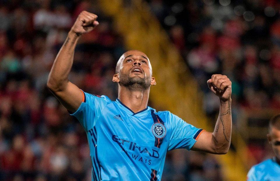 New York City FC's Heber celebrates a goal