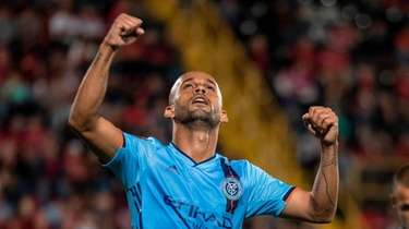 New York City FC's Heber celebrates a goal