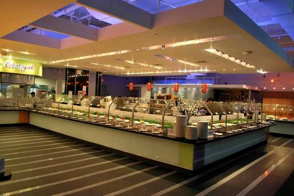 The inside of Minado, a buffet restaurant in