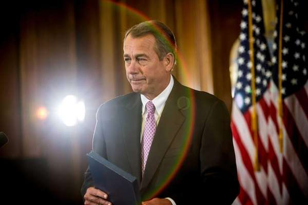 House Speaker John Boehner makes remarks on Capitol