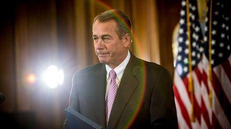 House Speaker John Boehner makes remarks on Capitol
