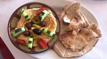 A plate of hummus at Zaro's Café in