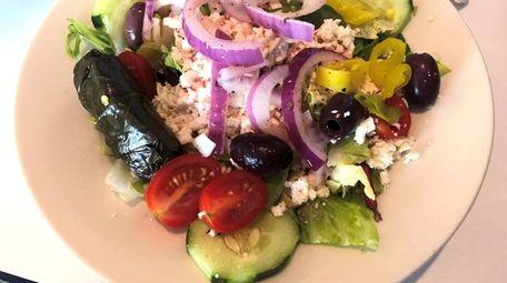 A Greek salad at Zaro's Café in Huntington